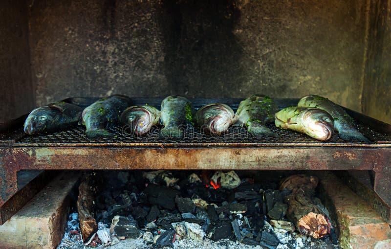 Pescados en parrilla fotografía de archivo libre de regalías