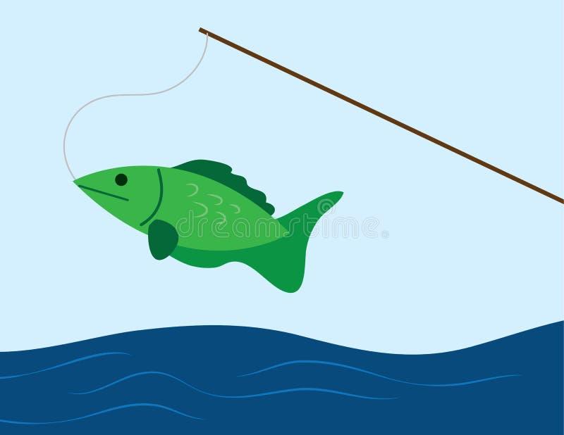 Pescados en un poste stock de ilustración