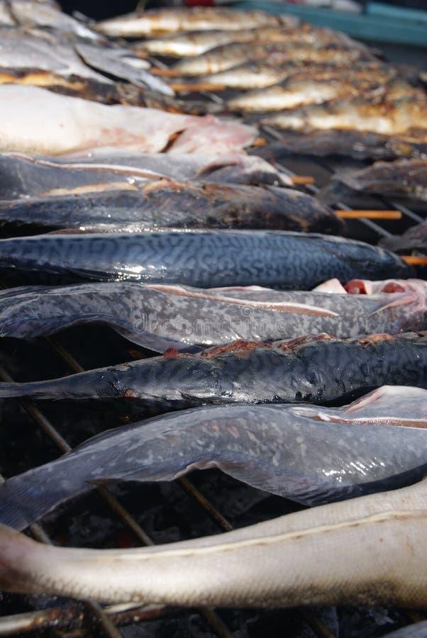 Pescados en una parrilla foto de archivo libre de regalías