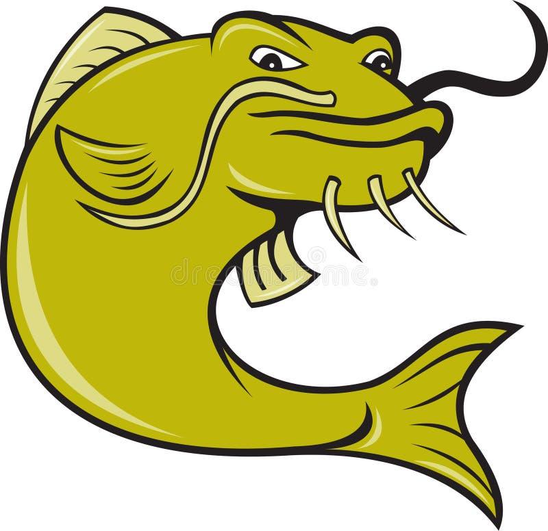 Pescados enojados del siluro de la historieta ilustración del vector