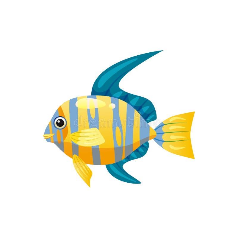 Pescados exóticos tropicales del ángel, colorante colorido brillante, vector aislados en el fondo blanco, estilo de la historieta stock de ilustración