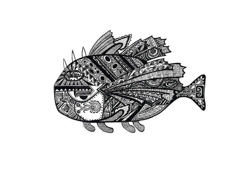 Pescados exhaustos de la mano de garabatear estilo con viejos motivos indios étnicos Ejemplo blanco y negro del dibujo stock de ilustración