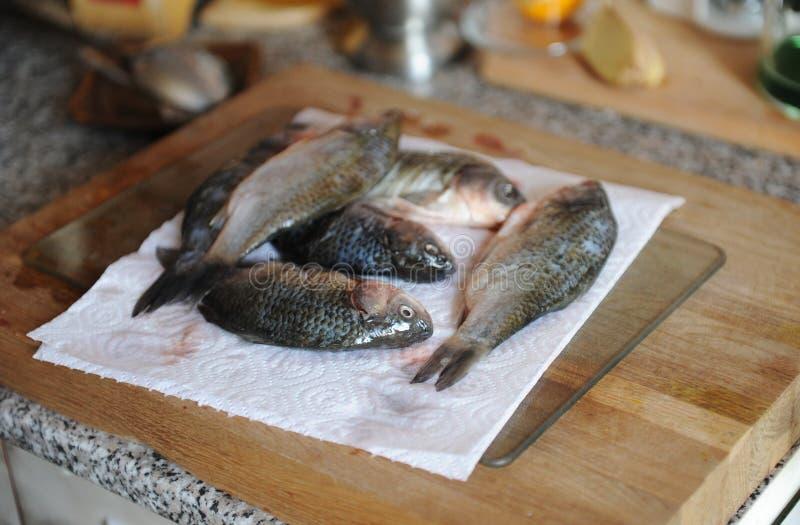 Pescados frescos crudos enteros con los ingredientes en la opinión superior cortada del tablero Cebollas, ajo, verdes y especias fotografía de archivo libre de regalías