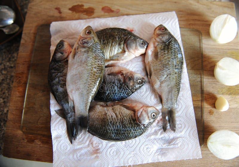 Pescados frescos crudos enteros con los ingredientes en la opinión superior cortada del tablero Cebollas, ajo, verdes y especias imágenes de archivo libres de regalías