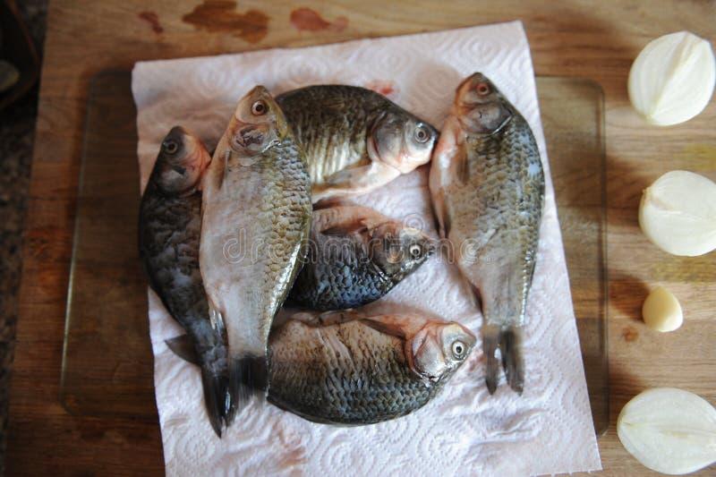 Pescados frescos crudos enteros con los ingredientes en la opinión superior cortada del tablero Cebollas, ajo, verdes y especias imagen de archivo