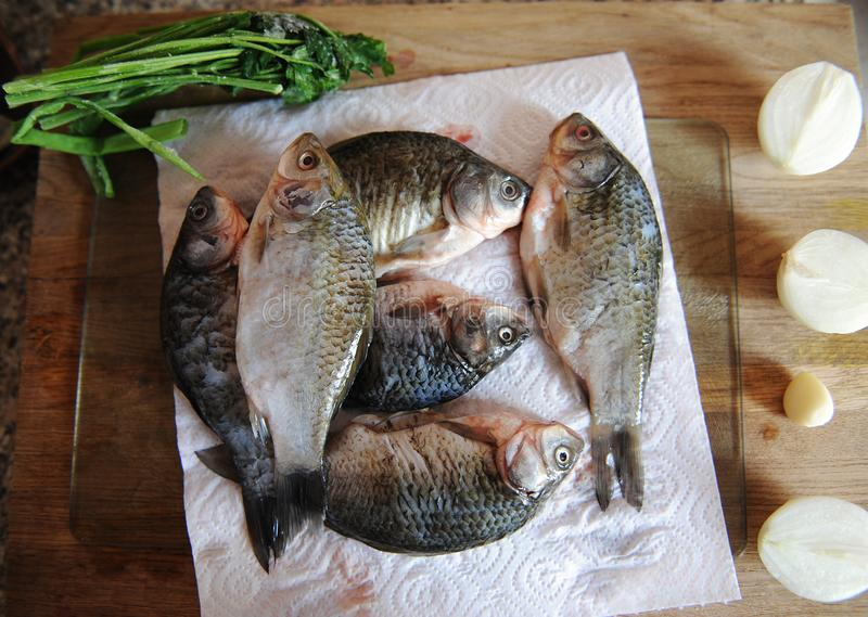 Pescados frescos crudos enteros con los ingredientes en la opinión superior cortada del tablero Cebollas, ajo, verdes y especias fotos de archivo libres de regalías