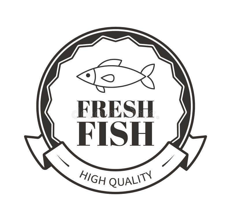 Pescados frescos de alta calidad, logotipo del menú del restaurante ilustración del vector