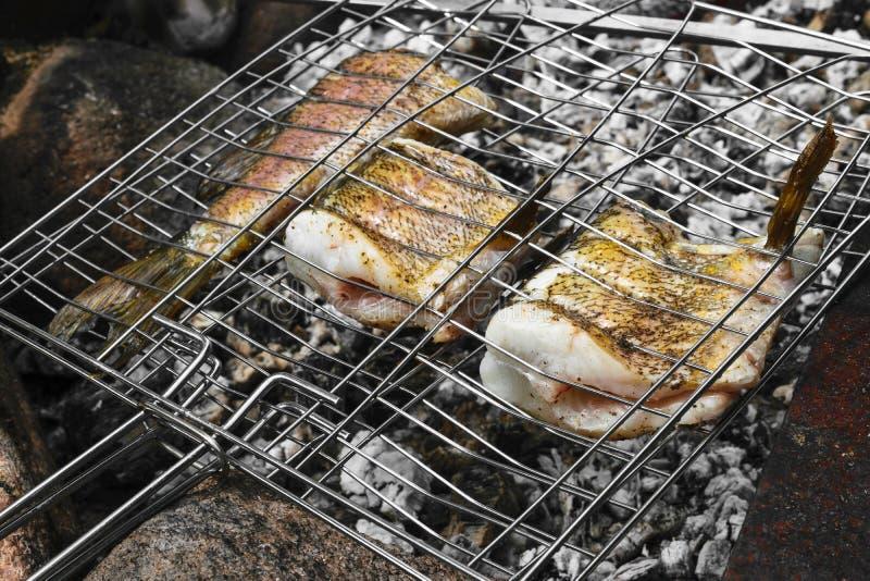 Pescados frescos del lucio que se preparan en un carbón de leña de la hoguera en el campo imagen de archivo libre de regalías