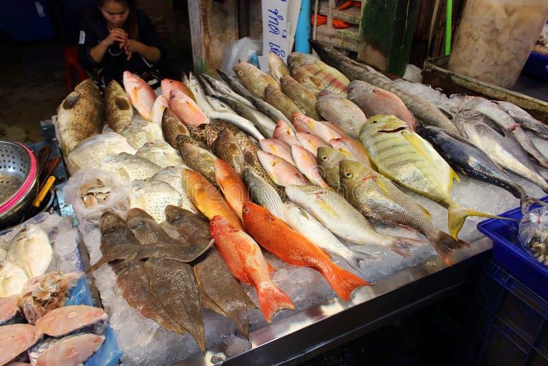 Pescados frescos en mercado asiático de los mariscos imagenes de archivo