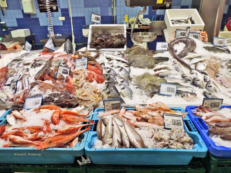 Pescados frescos en una parada del mercado de pescados imágenes de archivo libres de regalías