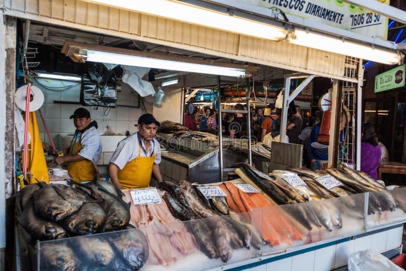 Pescados frescos y mariscos en la central de Mercado fotografía de archivo libre de regalías