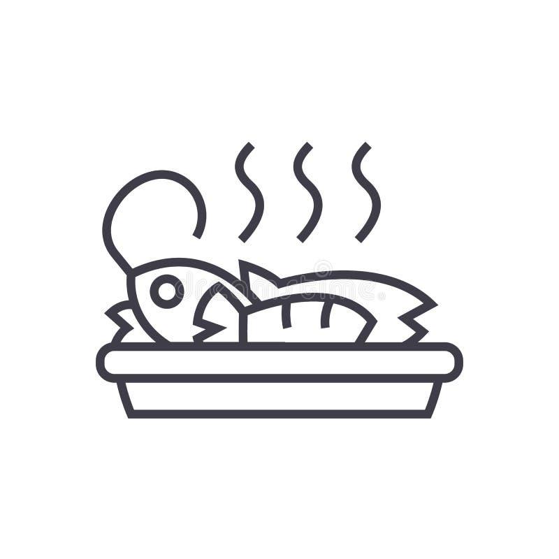 Pescados fritos, línea icono, muestra, ejemplo del vector del almuerzo en el fondo, movimientos editable stock de ilustración