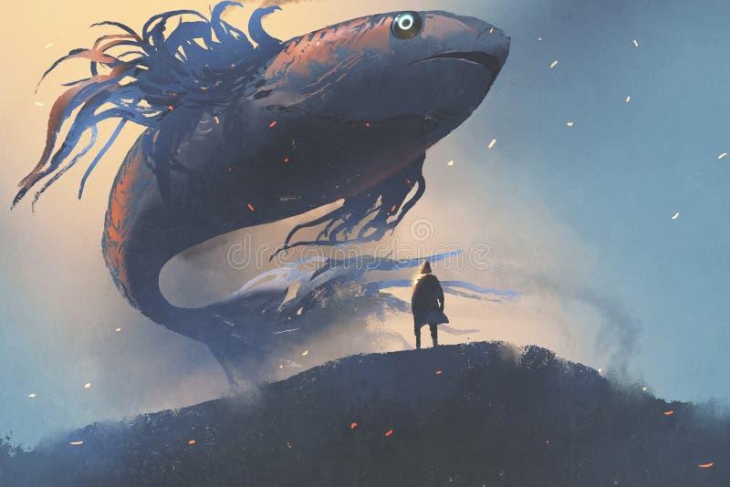 Pescados gigantes que flotan en el cielo sobre hombre en capa negra ilustración del vector