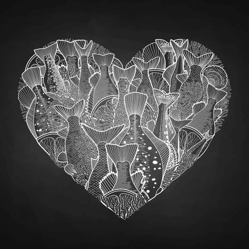 Pescados gráficos del océano en la forma del corazón stock de ilustración