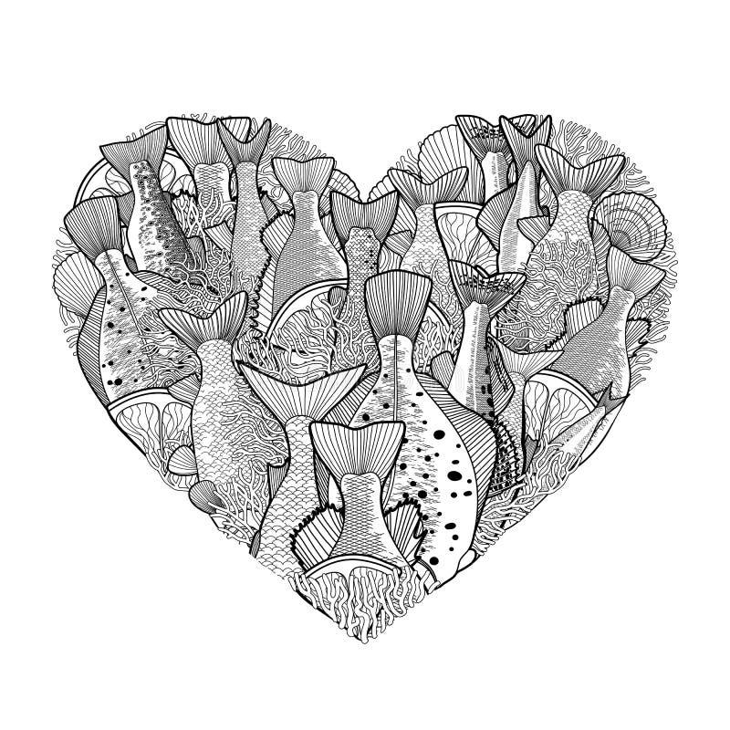 Pescados gráficos del océano en la forma del corazón ilustración del vector