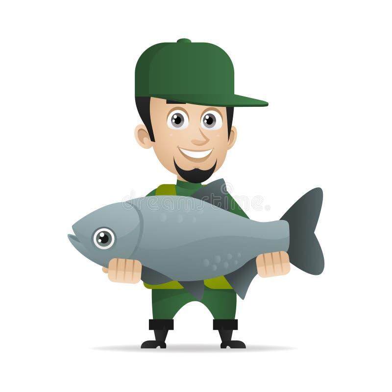 Pescados grandes cogidos pescador alegre del concepto stock de ilustración