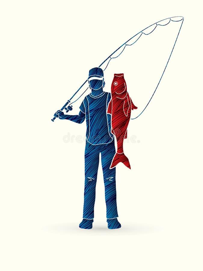 Pescados grandes de la situación y de la demostración del pescador stock de ilustración