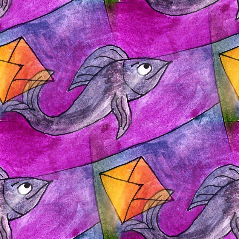 Pescados ligeros inconsútiles, papel pintado púrpura t moderno del artista de la acuarela stock de ilustración