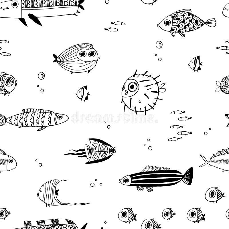 Pescados lindos del verano Modelo inconsútil stock de ilustración