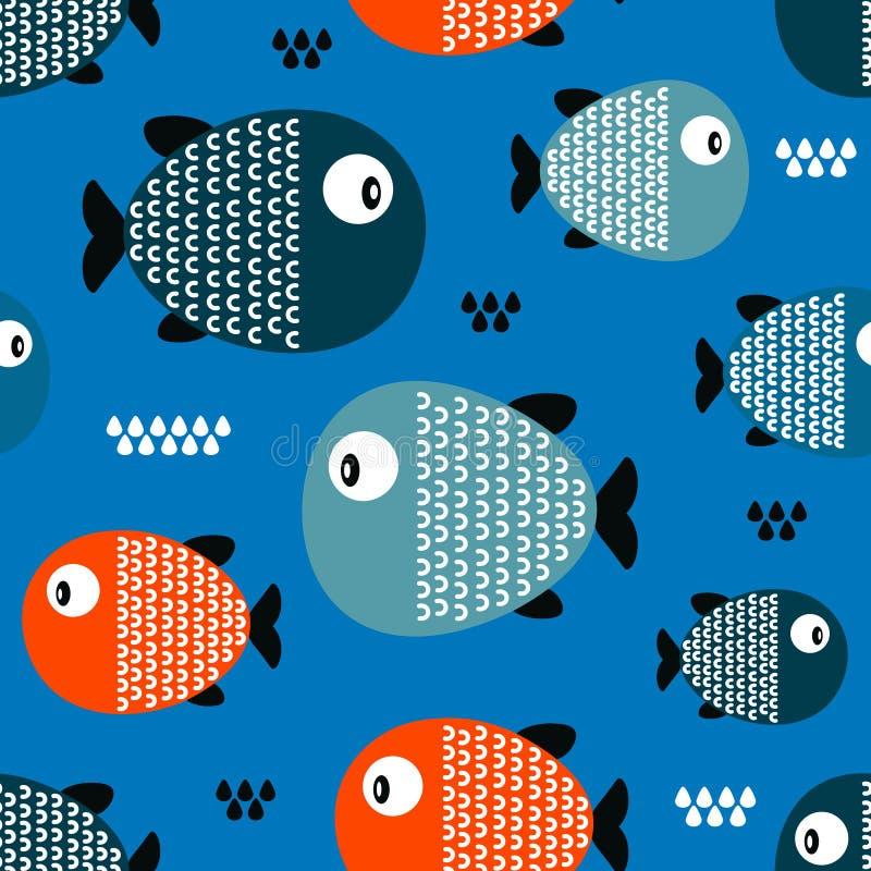 Pescados, modelo inconsútil colorido ilustración del vector