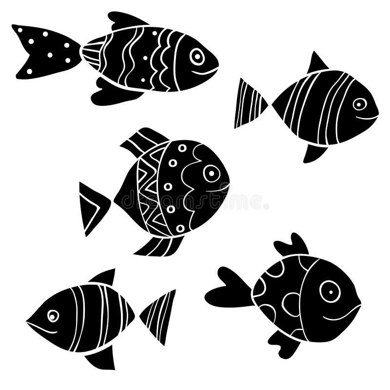Pescados negros lindos del vector en estilo plano de la historieta stock de ilustración