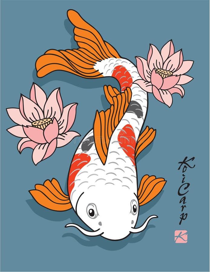 Pescados orientales - carpa de Koi - con las flores de loto stock de ilustración