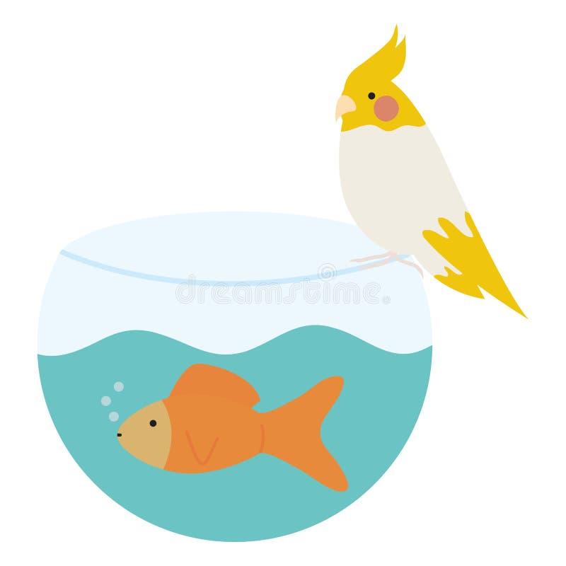 Pescados ornamentales lindos en acuario con el pájaro stock de ilustración