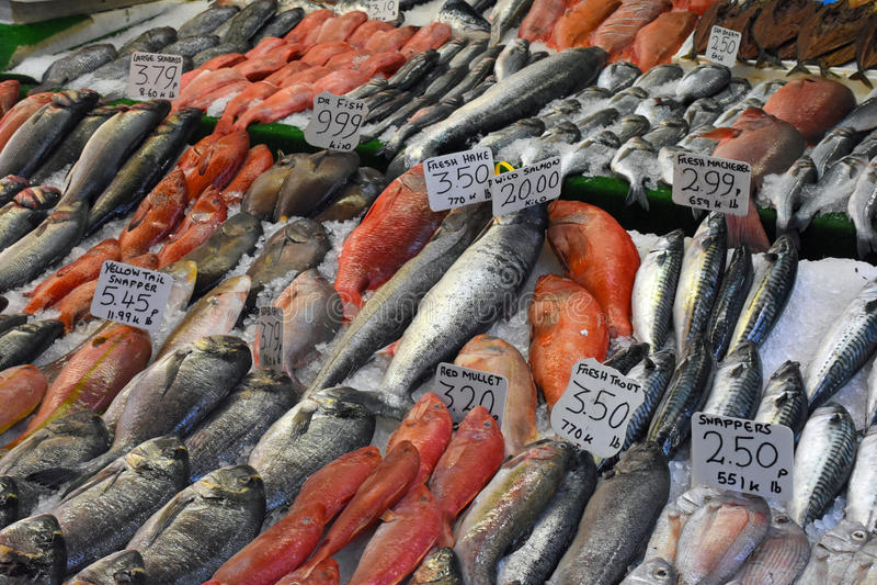 Pescados para la venta, Brixton Market, Londres del sur, Inglaterra imagen de archivo