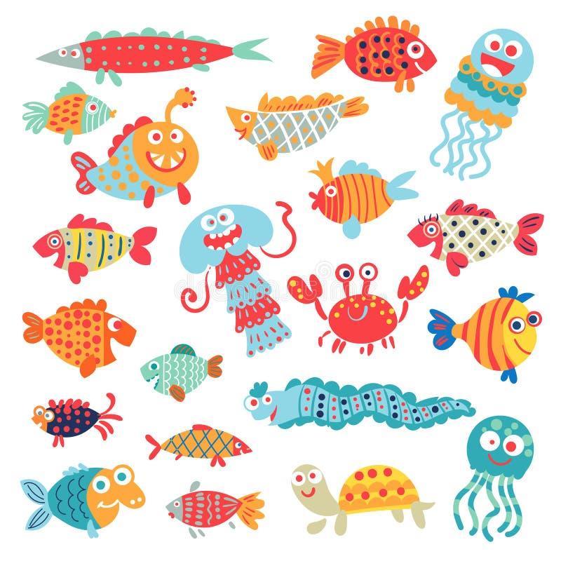 Pescados planos lindos Personaje de dibujos animados divertido ilustración del vector
