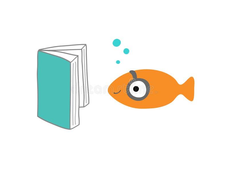 Pescados que leen un libro fotos de archivo libres de regalías