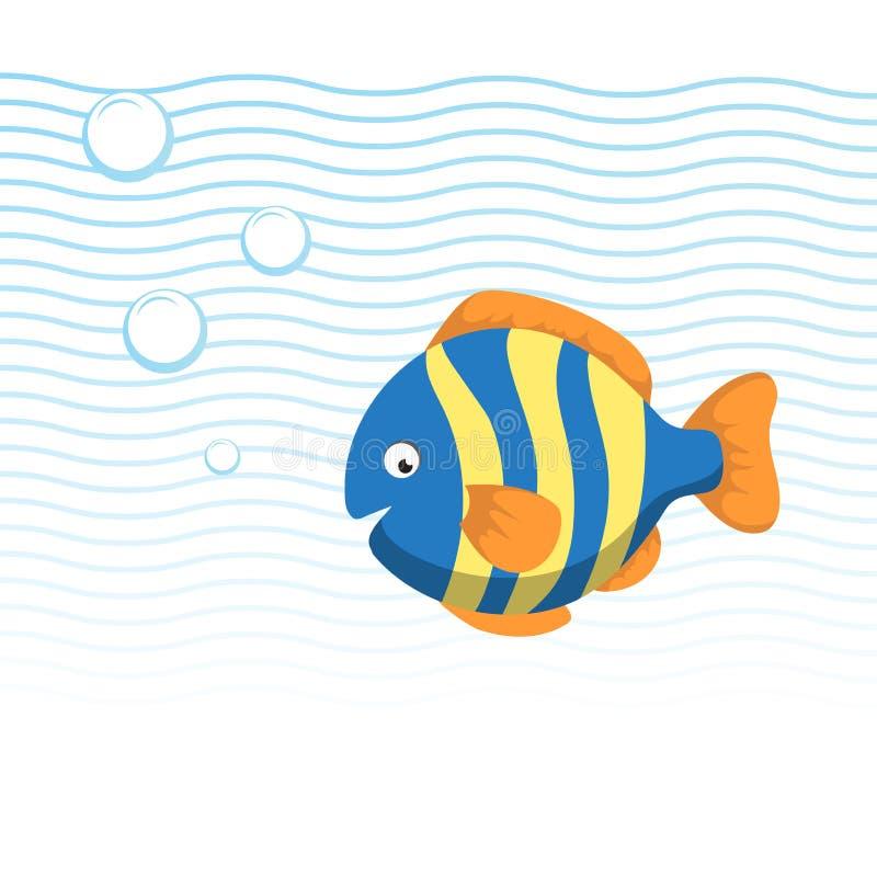 Pescados rayados de la historieta de moda que nadan bajo el agua Ondas y burbujas del azul libre illustration