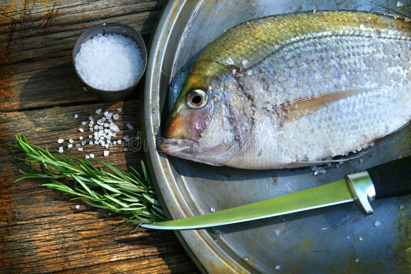 Pescados recién pescados en cocinar el disco fotografía de archivo