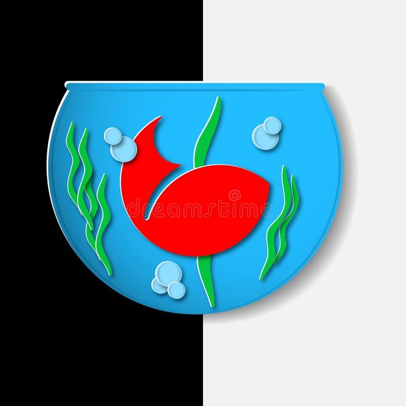 Pescados rojos en el fishbowl ilustración del vector