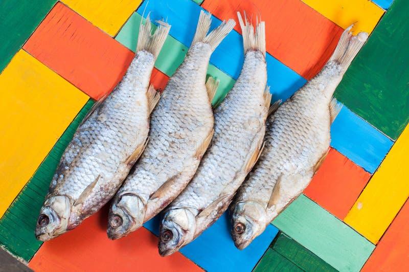 Pescados secados en un fondo coloreado foto de archivo