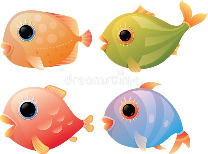 Pescados tropicales de la historieta stock de ilustración