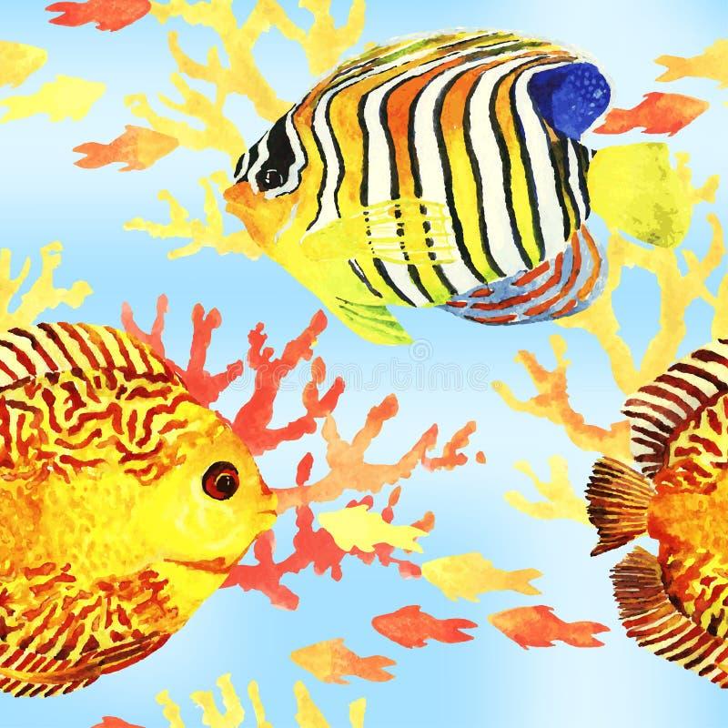 Pescados tropicales inconsútiles stock de ilustración