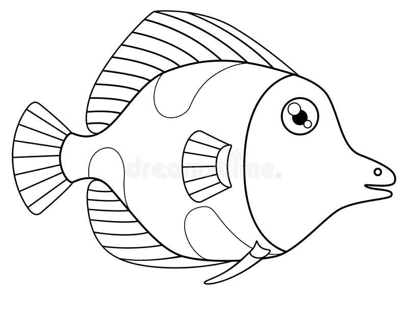 Pescados tropicales lindos con los puntos, - un modelo para colorear Vector, pescado linear - el elemento del diseño marino ilustración del vector