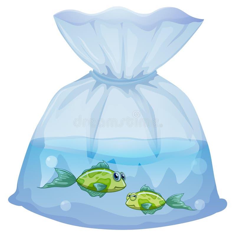 Pescados verdes dentro de la bolsa plástica stock de ilustración
