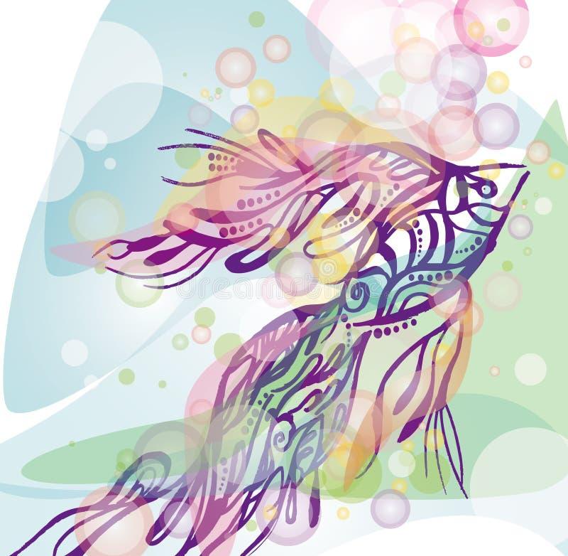 Pescados y burbujas stock de ilustración