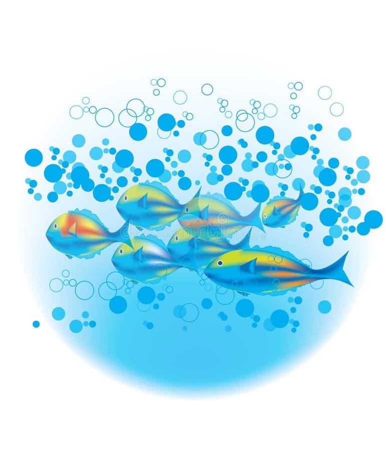 Pescados y burbujas azules stock de ilustración