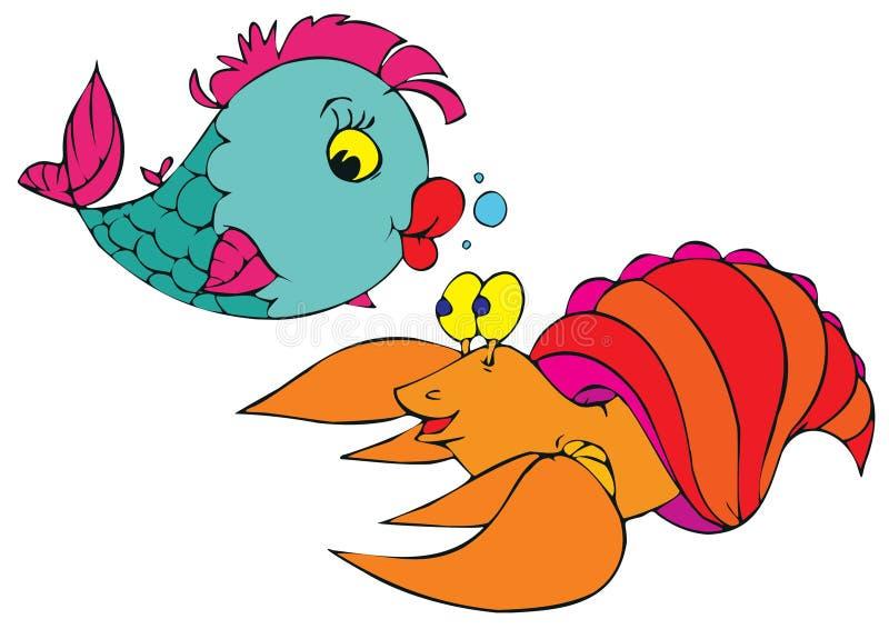 Pescados y cangrejos coralinos ilustración del vector