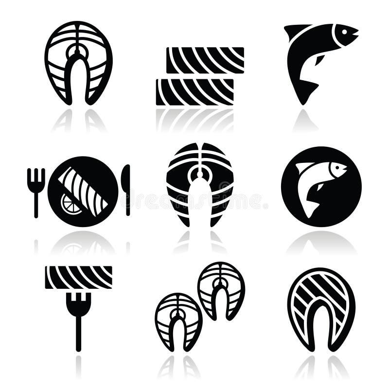 Pescados y comida de color salmón - iconos de la comida fijados libre illustration