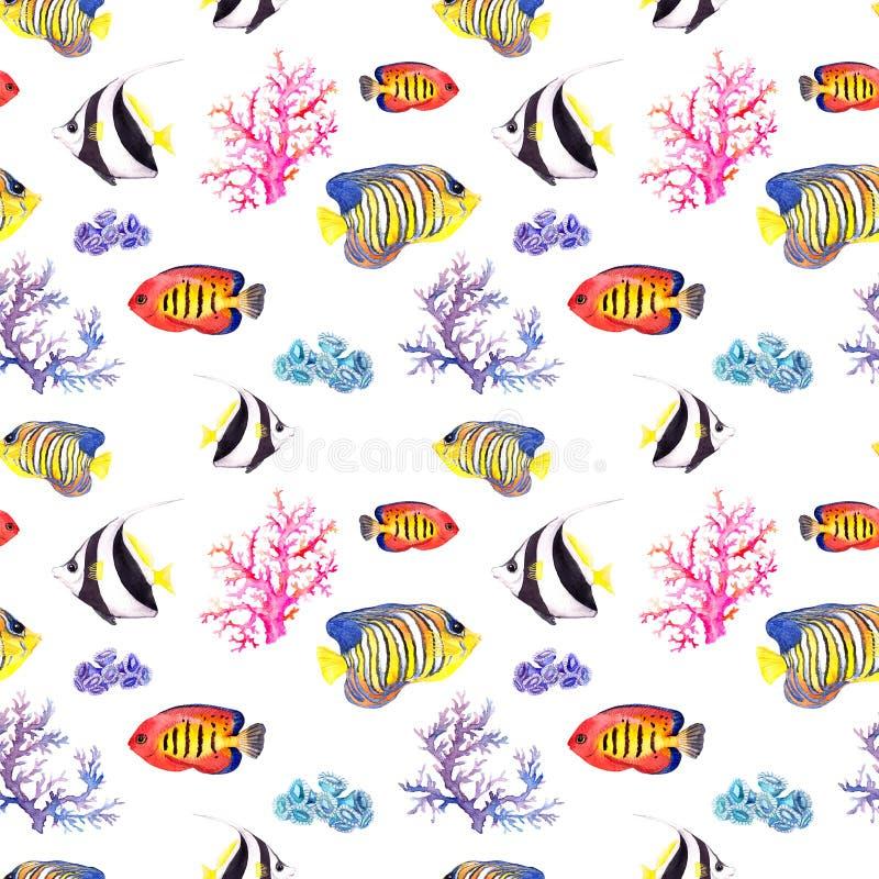 Pescados y concha marina Repetición del modelo inconsútil watercolor stock de ilustración