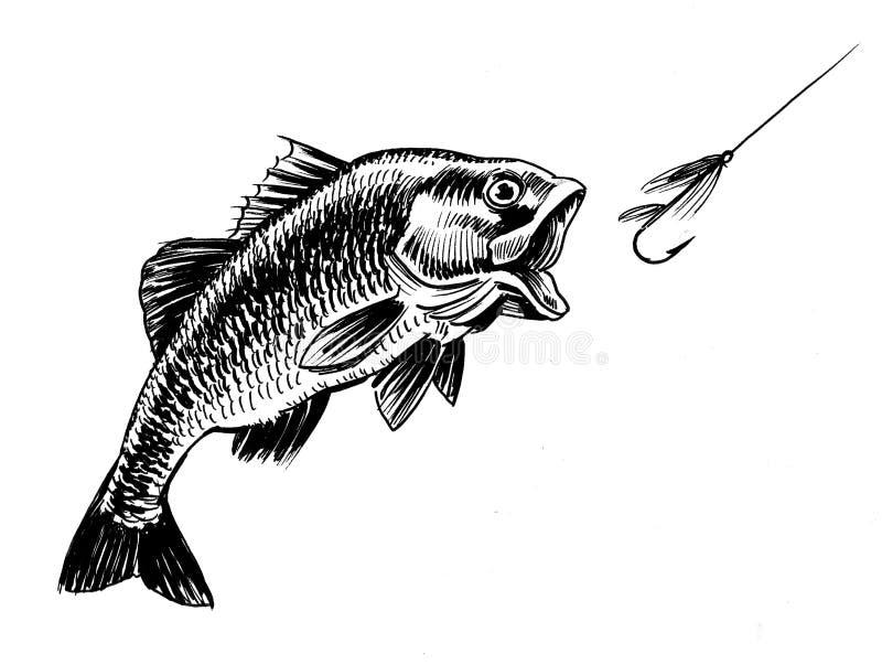 Pescados y gancho de leva stock de ilustración