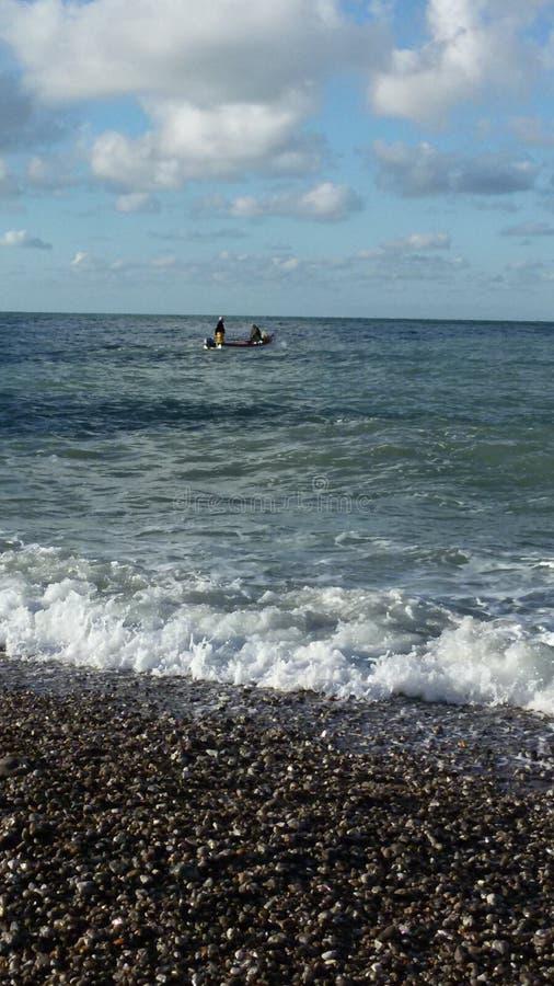 Pescando in acqua fredda fotografia stock libera da diritti