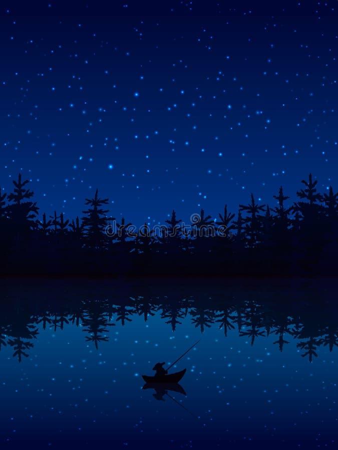 Pescando all'illustrazione di notte illustrazione vettoriale