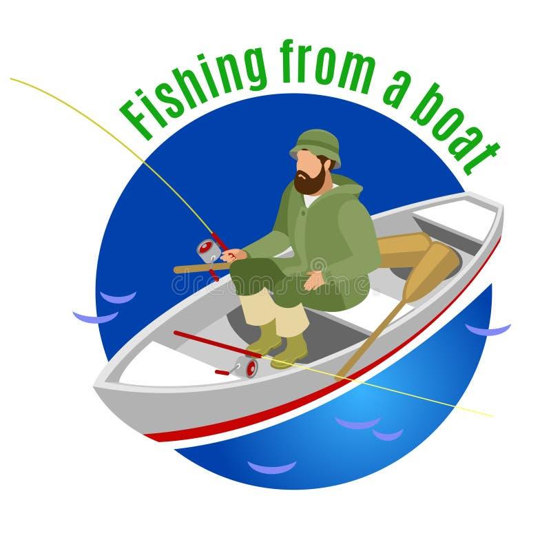 Pescando dal fondo isometrico della barca royalty illustrazione gratis