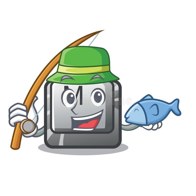 Pescando el botón de M instalado en historietas del juego stock de ilustración