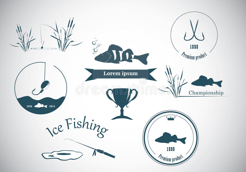 Pescando etiquetas e elementos do projeto ilustração stock