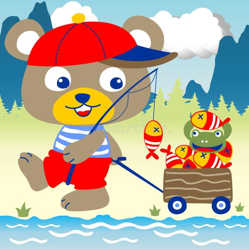 Pescando nel fiume illustrazione di stock